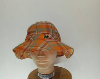 2cafe42c042 Vintage Lacoste Bucket Hat Checkered Large
