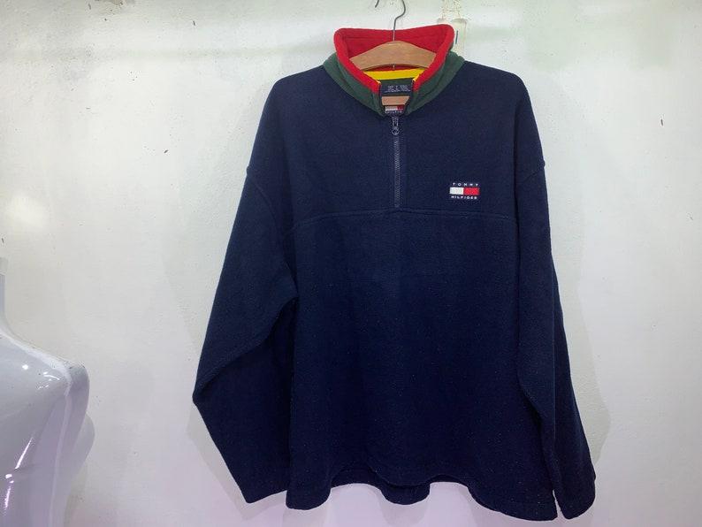 Vintage Tommy Hilfiger Fleece Jacket Pullover Streetwear Half Zipper size X L