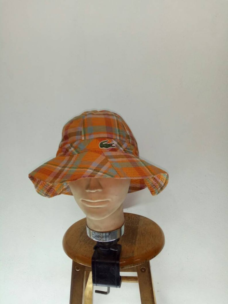 37366d2339f594 Vintage Lacoste Bucket Hat Checkered Large | Etsy