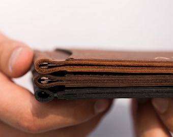 Slim wallet leather | Etsy