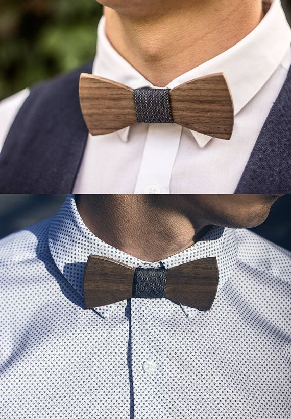 Ebony and Maple Wooden Bow Tie Wood Wedding Groomsmen Gift Father