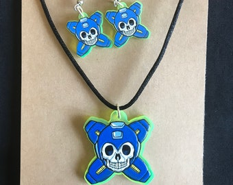 FKN RAD  Acrylic Megaman Skull and Crossbones Necklace and Earrings Set