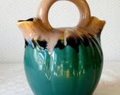 French Vintage Ceramic Water Jug, Emerald Green 1950s Glazed Water Pitcher, Double Spout Top Handle, Vallauris Style, Retro Barware Gift