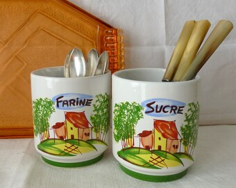 Set Of 2 French Vintage Canisters, French Ceramic Kitchen Jars, Flour,  Sugar, 1980s, Colorful Country Kitchen, Shabby Cottage
