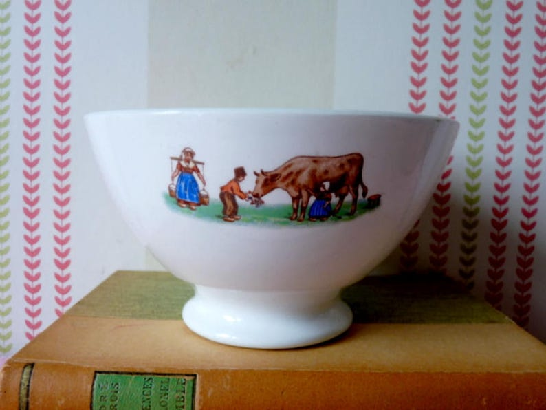 Vintage French Cafe Au Lait Footed Bowl, 1950s Child Decor, Children  Milking Cow, Country Kitchen, Breakfast, For Ice Cream, Birthday Gift