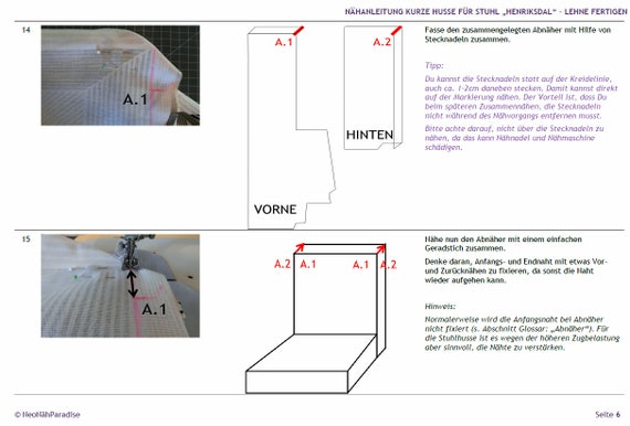 HENRIKSDAL par IKEA Modèle de couture ebook Sewing Instructions Husse Cover Chair Pad