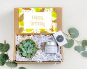 Happy Birthday Gift Box Best Friend Gift Send a Gift Box Birthday Gift Box Terra Cotta Pot Succulent Soy Candle