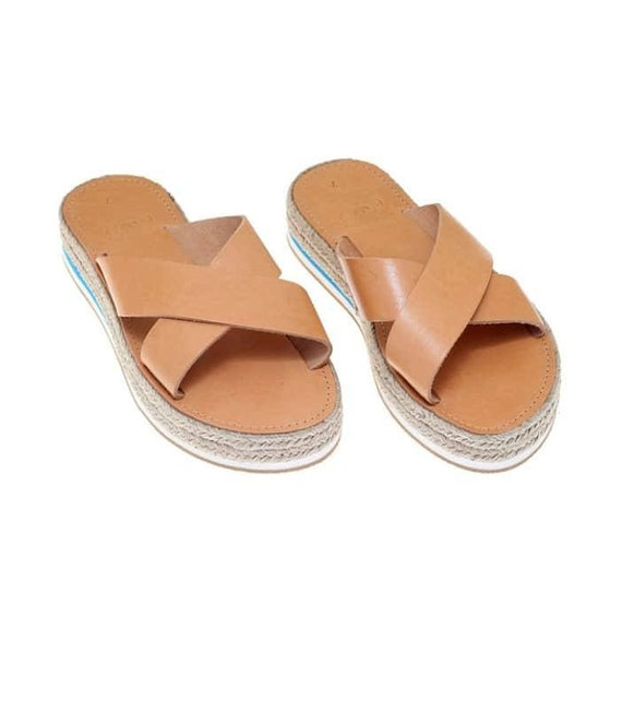 Sandals Sandals Sandals Sandals Leather from Flat Made Leather Leather Leather Genuine Platforms Platform Greek fHwCHEq