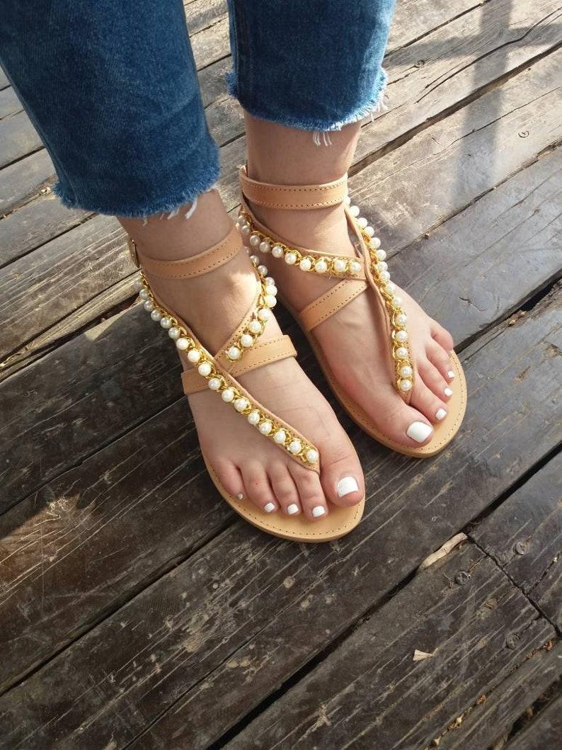 c17e555addc Wedding Sandals  Greek sandals  pearl sandals  leather