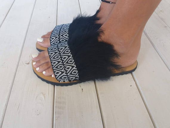 feathers Flat Boho Greek sandals sandals sandals slides black sandals sandals Feather Leather black ANDROMACHE sandals handmade gxPHqqw