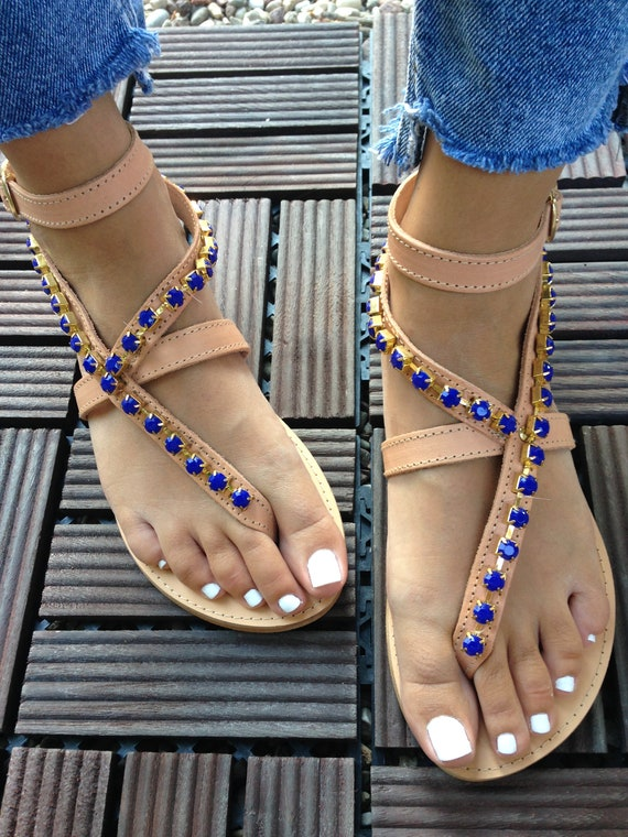 sandals sandals Greek Luxury HARMONY sandals sandals flat sandals Blue genuine Boho crystal leather sandals Leather sandals 17wAdU7x