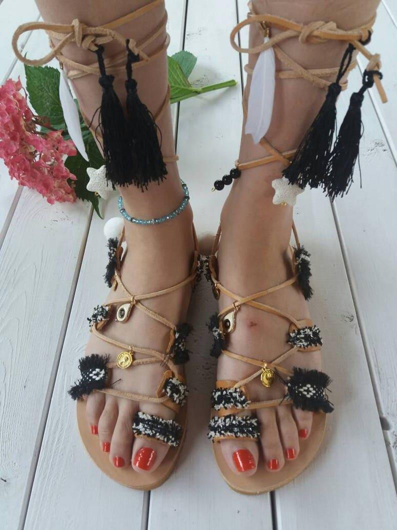 10e5237e0aa51 Pom pom sandals/ Lace up sandals/ Handmade sandals/ bohemian sandals/  Leather sandals/ black tie up sandals/ Greek sandals/ ERATO