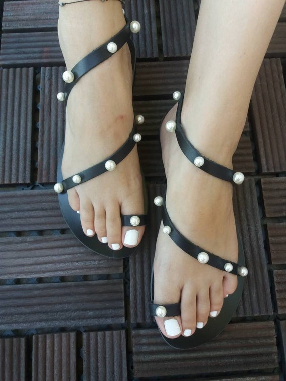 sandals Flat Greek sandals Leather Pearls Handmade Sandals Black sandals sandals Handcrafted KLEONIKI sandals sandals Luxurious 4UqC7znq