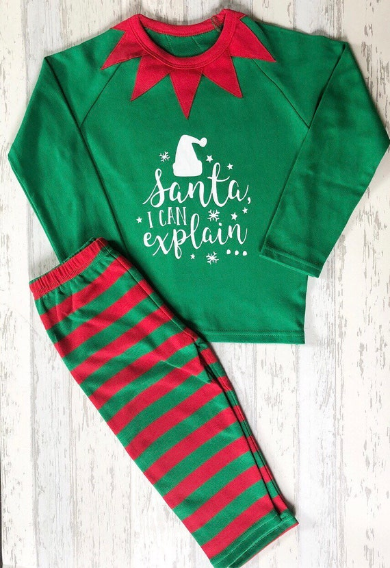 Kids christmas pyjamas   Personalised elf pyjamas   elf pjs    8359e6dde