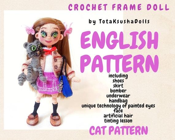 Crochet Doll pattern American girl doll. Dress up doll with BONUS cat pattern, PDF pattern.