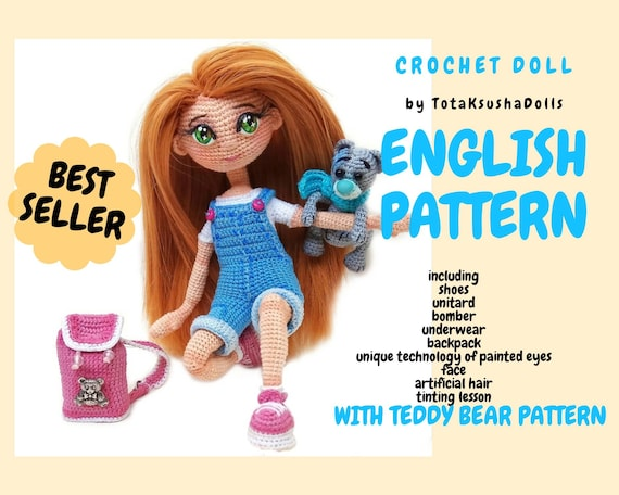Juliet Crochet DOLL pattern with crochet BEAR, amigurumi pattern, doll with clothes. PDF.