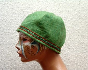 CAP, Middle Ages, Viking, Rus, embroidered, plant dyed, Herringbone, Gr. 57, wool, linen