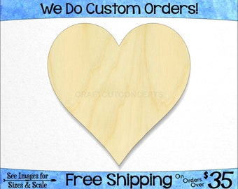 Heart Style 4 Unfinished Cutout Variety of Sizes USA Made Valentines Day