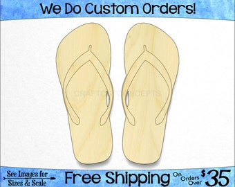 99d40c7b9 Sandals Flip Flops Cutout - Large   Small - Pick Size - Laser Cut  Unfinished Wood Cutout Shapes Beach Summer Tropical (SO-0140-02) 1-24