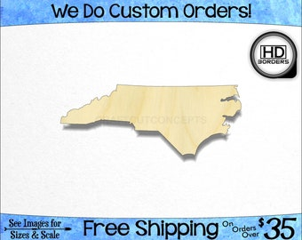 9b508e69b17 North Carolina High Definition Borders NC State Cutout - Large & Small -  Pick Size - Unfinished Wood Cutout Shapes (SO-0010-33)*2-24