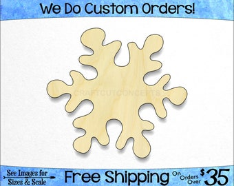 Snowflake Shape - Large & Small - Pick Size - Unfinished Wood Cutout Shapes Winter Snowfall Cold Window Wall Decoration (SO-0080-02)*1-24