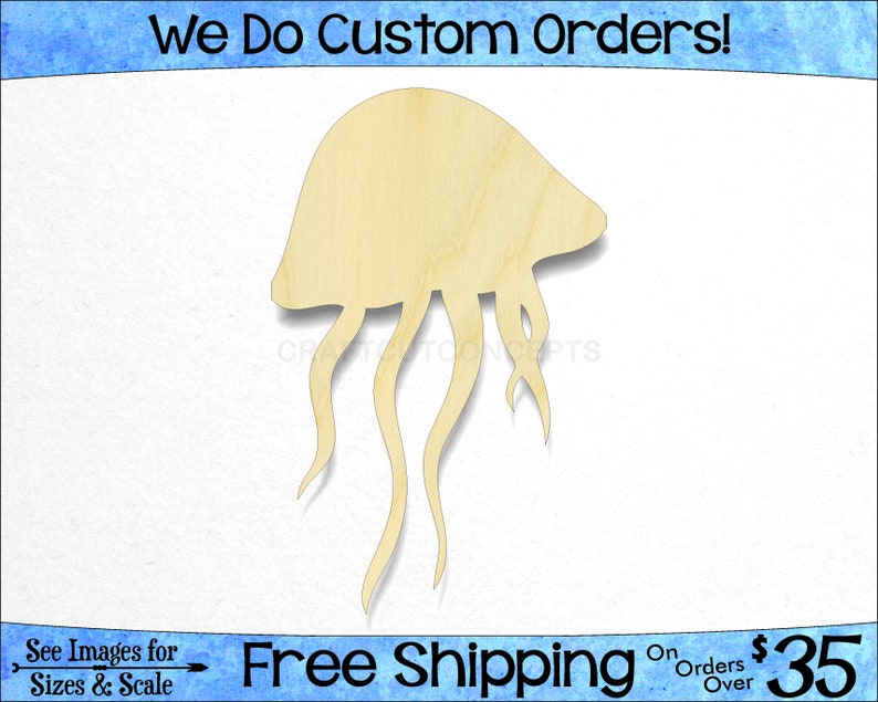 Pick Size -Unfinished Cutout Shapes Marine Life Beach Ocean Fish Beach Kids SO-0174 *2-24 Large /& Small Jelly Fish Shape