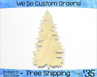 Fir Fur Tree - Large & Small - Pick Size - Unfinished Shapes December Winter Holiday Decoration Presents Xmas evergreen (SO-0185-01)*4-24