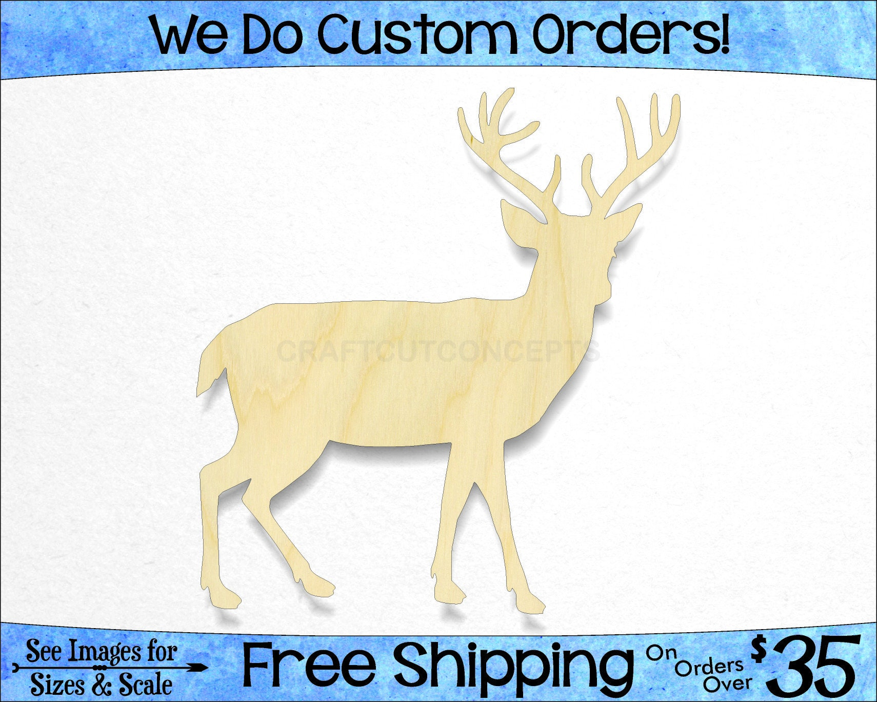 Deer With Antlers Shape Woodland Wildlife Large Small Pick Size Laser Cut Unfinished Wood Cutout Shapes So 0040 073 24
