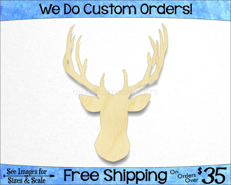 Deer Head Shape Woodland Wildlife Large Small Pick Size Laser Cut Unfinished Wood Cutout Shapes Outdoors Hunting So 0040 033 24