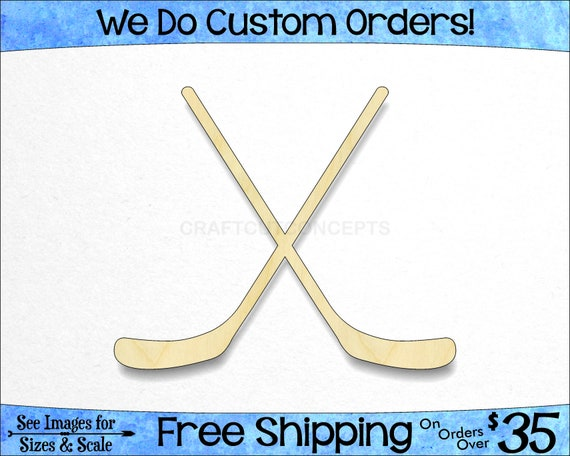 Hockey Stick-3 Unfinished MDF Wood Cutout Variety Sizes USA Made Home Decor