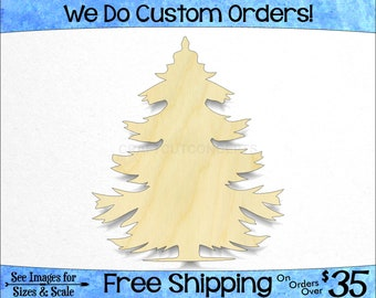 Fir Fur Pine Tree - Large & Small - Pick Size - Unfinished Shapes December Winter Holiday Decoration Presents evergreen (SO-0185-12)*2-24