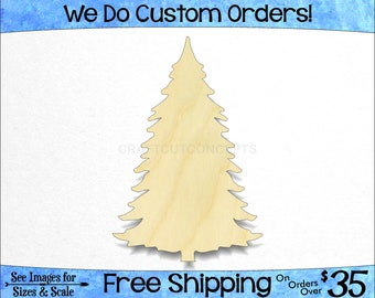 Fir Fur Pine Tree - Large & Small - Pick Size - Unfinished Shapes December Winter Holiday Decoration Presents evergreen (SO-0185-11)*2-24