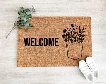 Welcome Wildflowers Doormat – Boho Doormat – Welcome Mat – Fall Doormat – Good Vibes Doormat - Housewarming Gift