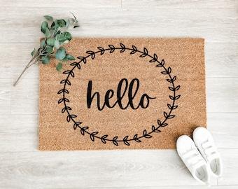 Hello Laurel Wreath Doormat – Wedding Gift - Welcome Mat – Coir Doormat – Fall Decor - Cute Doormat – Front Porch Decor – Outdoor Rug