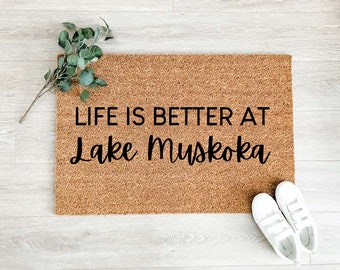 Life is Better at Lake Custom Doormat –Welcome Doormat - Welcome Mat – Custom Coir Doormat  – Cute Doormat - Welcome Rug - Cottage Decor