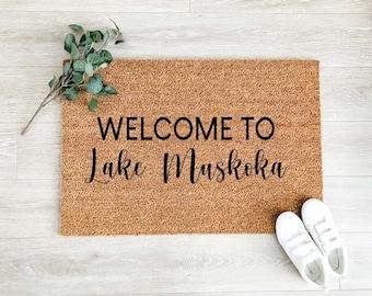 Welcome to Lake Doormat –Welcome Doormat - Welcome Mat – Custom Coir Doormat  – Cute Doormat - Welcome Rug - Cottage Decor
