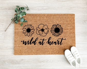 Wild at Heart Wildflowers Doormat – Boho Doormat – Welcome Mat – Fall Doormat – Good Vibes Doormat - Housewarming Gift
