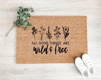 Wild and Free Wildflowers Doormat – Boho Doormat – Welcome Mat – Fall Doormat – Good Vibes Doormat - Housewarming Gift