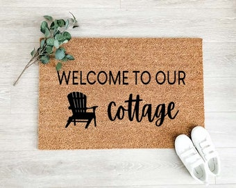 Welcome to Our Cottage Doormat –Welcome Doormat - Welcome Mat – Custom Coir Doormat  – Cute Doormat - Welcome Rug - Cottage Decor