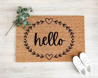 Hello Wreath Doormat – Welcome Mat – Coir Doormat – Fall Decor - Cute Doormat – Front Porch Decor – Outdoor Rug