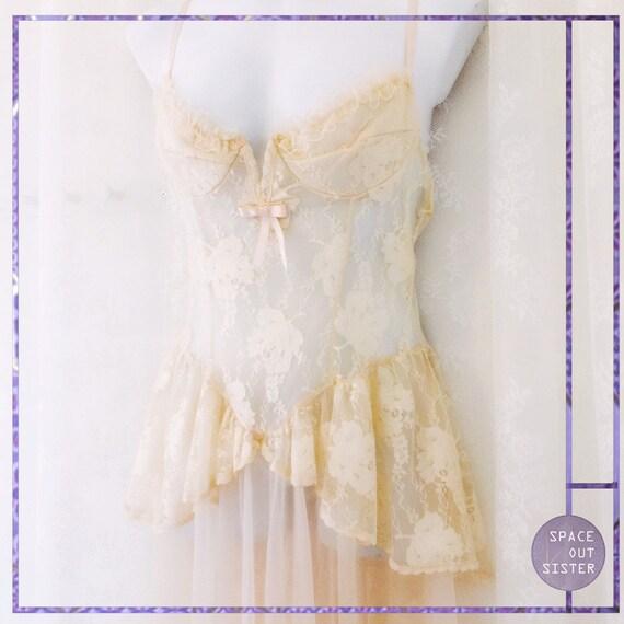 Vintage 80s Peachy Queene Boudoir Dress