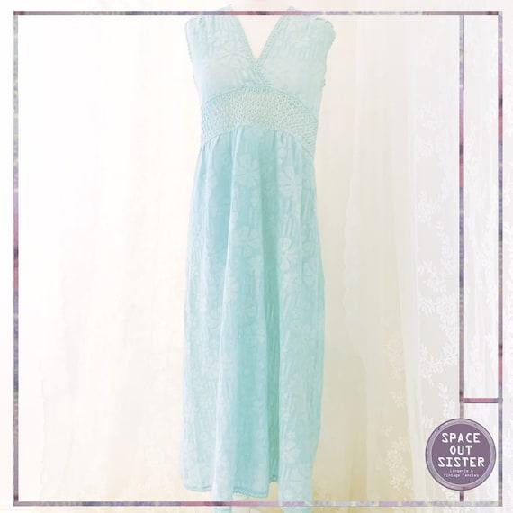 Vintage Cotton Hanro Turquoise Nightdress