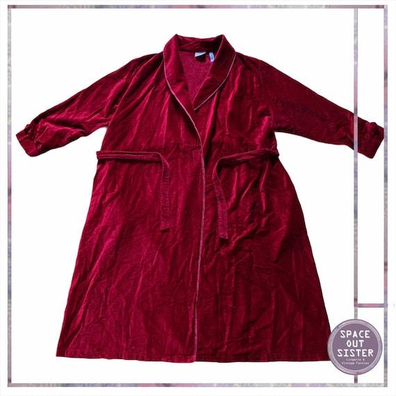 1970s Vintage Men's Cotton Red Dressing Gown