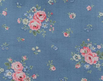 "Cath Kidston Half Yard Cotton Fabric  52""(133cm) Wide_Bouquets on Blue PF018"