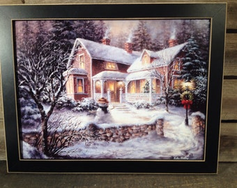 framed print snowman winter scene country primitive farmhouse decor Wall hanging picture