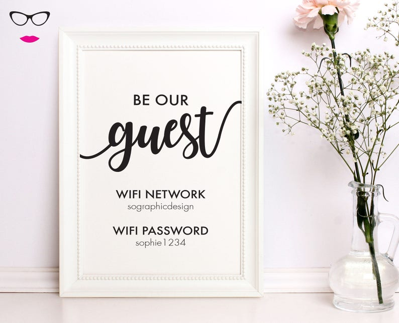 384451663cf28 Be our guest home wifi password print- wall art, quote print, typography,  custom quote design, real foil available