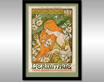 L'ermitage, Revue Illustree by Paul Berthon Circa 1897 ~ Art Nouveau ~ Reproduction Print ~ FREE Shipping to UK Customers.