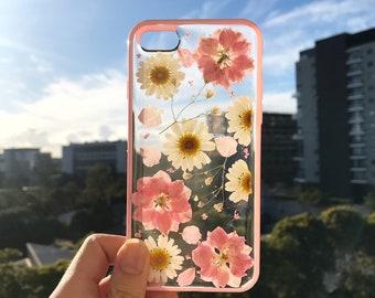 Handmade phone case/ pressed flower phone case/ preserved flower phone case/ dried flower phone case/ iphone cases 6/7/8 case/ iphone X case
