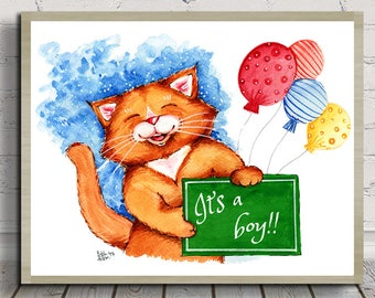 It's a Boy, Nursery Decor, Baby Shower, New Baby, Digital Print, Instant Download, Watercolor Illustration, For Cat Lovers, Cat Print, Cat