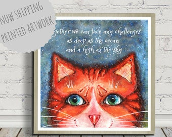 Cat Poster, Cat Print, Cat Art, Cat Watercolor, Cat Quote, Inspirational Quote Poster, Cat Illustration, Wall Art, Square Poster, Tabby Cat